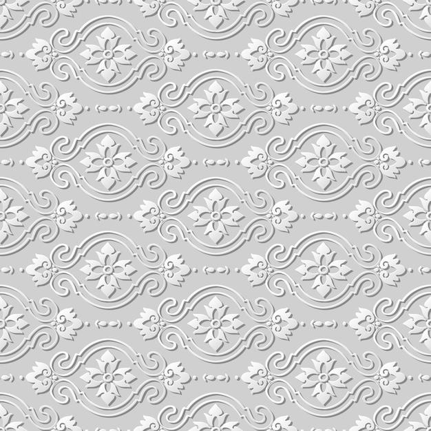 Modello senza cuciture 3d carta arte modello curva croce fiore ovale Vettore Premium