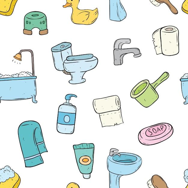 Modello senza cuciture di elementi del bagno con stile doodle Vettore Premium