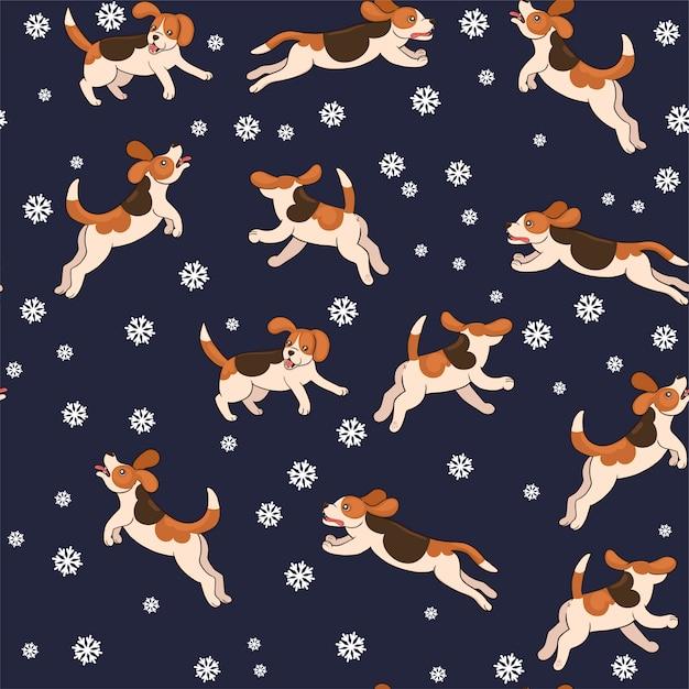 I cani beagle senza cuciture catturano i fiocchi di neve. grafica. Vettore Premium