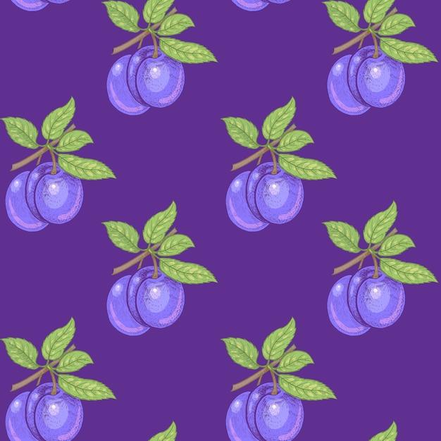 Modello senza soluzione di continuità. rami con foglie e prugne su uno sfondo viola. illustrazione per imballaggi, carta, carta da parati, tessuti, tessuti. Vettore Premium