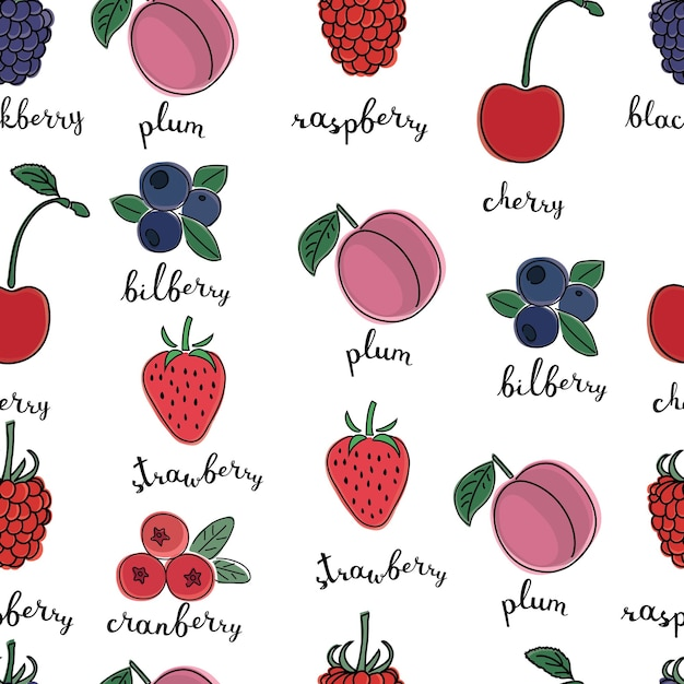 Modello senza cuciture di illustrazioni a colori di diversi tipi di bacche con inchiostrazione e nome di lettere in inglese su sfondo bianco isolato Vettore Premium