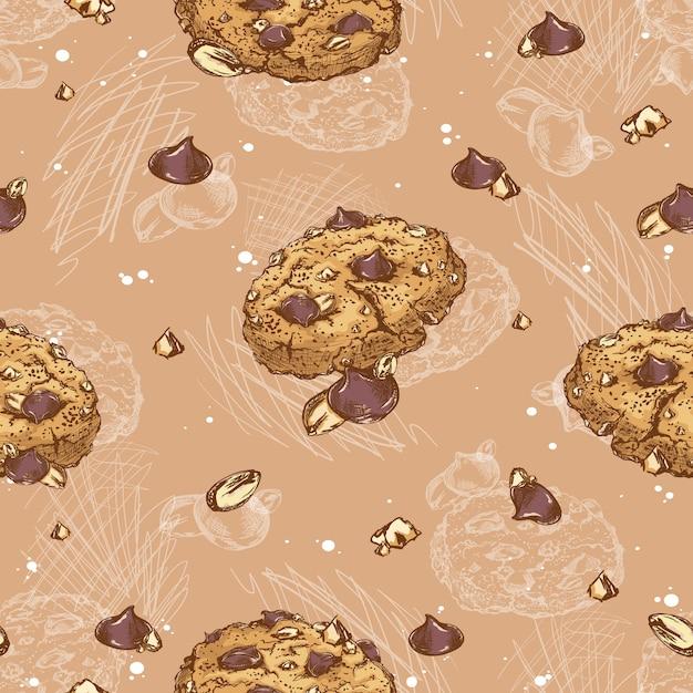 Modello senza cuciture di biscotti con gocce di cioccolato e noci. Vettore Premium
