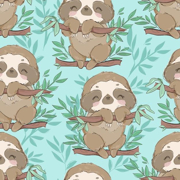 Modello senza cuciture carino divertente bradipi su un ramo con foglie Vettore Premium