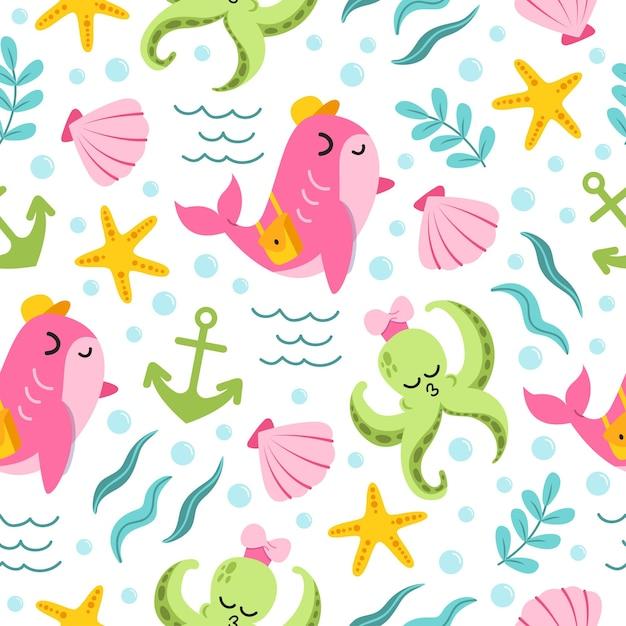 Modello senza cuciture di balena rosa carina e simpatico cartone animato polpo verde nell'oceano Vettore Premium