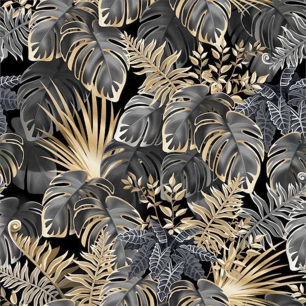 Foglie scure senza cuciture delle piante tropicali. Vettore Premium