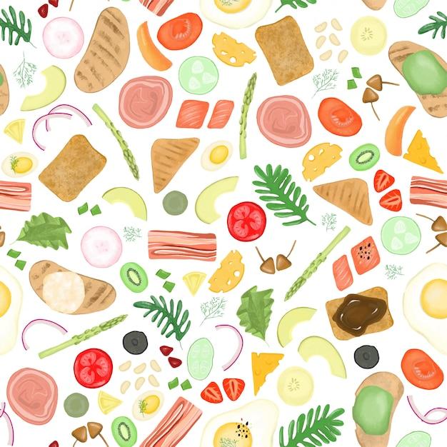 Modello senza cuciture di diversi elementi di ingredienti vegetali e carne Vettore Premium