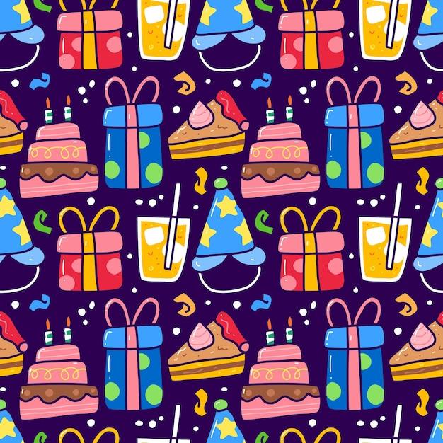 Modello senza cuciture doodle di elemento festa di compleanno. può essere utilizzato per tessuti ecc Vettore Premium