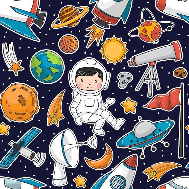 Il modello senza cuciture scarabocchia l'elemento degli astronauti e delle astronavi Vettore Premium