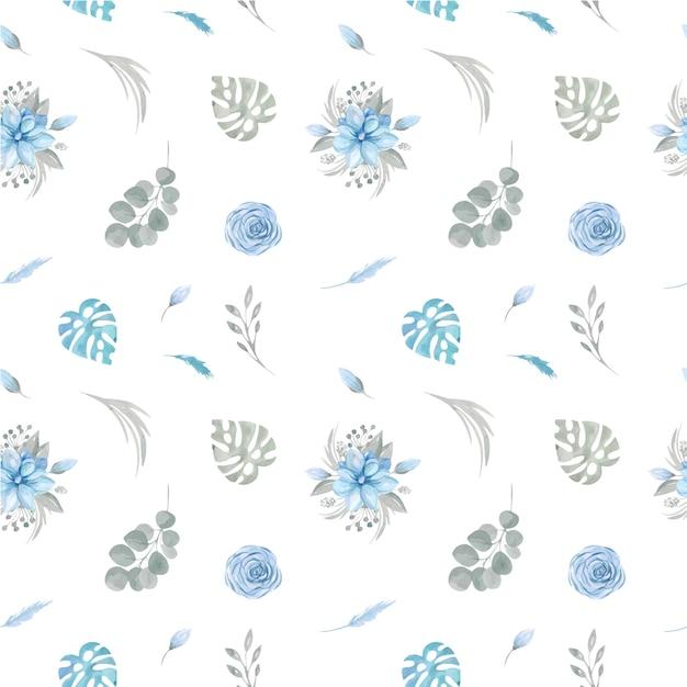 Modello senza cuciture di fiori blu floreali e verde su sfondo bianco. Vettore Premium