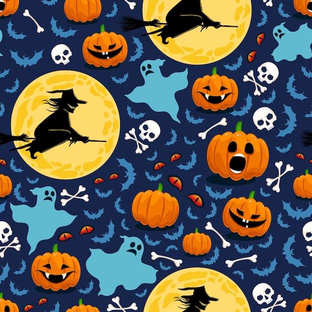 Modello senza cuciture per halloween con zucche, streghe e fantasmi Vettore Premium
