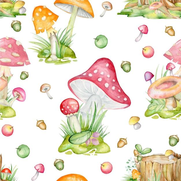 Seamless pattern, su uno sfondo isolato. funghi, foglie, frutti, piante, disegnati a mano, acquerello Vettore Premium