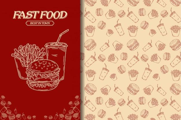 Junkfood senza cuciture Vettore Premium