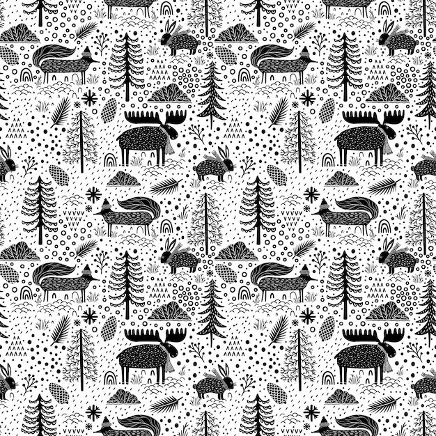 Seamless pattern natura foresta fauna selvatica canada. Vettore Premium