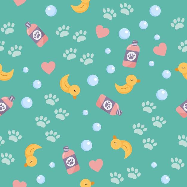 Seamless di oggetti per il lavaggio. anatra gialla simpatico cartone animato per bagno, bolle e zampe. lavaggio e toelettatura degli animali domestici. Vettore Premium