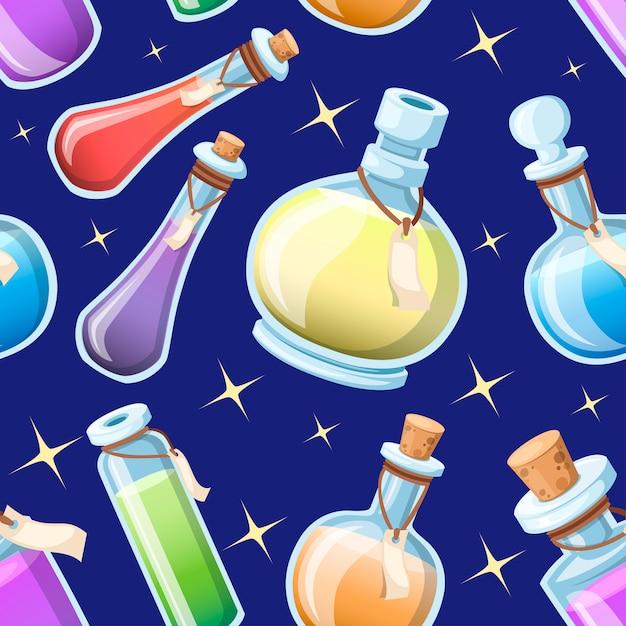 Seamless pattern. set di pozioni magiche. bottiglie con liquido colorato. icona del gioco di elisir magico. icona di pozione viola. mana, salute, veleno o elisir magico. illustrazione sullo sfondo del cielo Vettore Premium