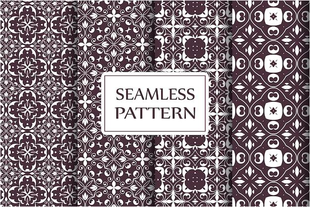 Seamless pattern imposta ornamento vintage, fiori barocchi e ornamenti floreali ornati veneziani d'argento Vettore Premium
