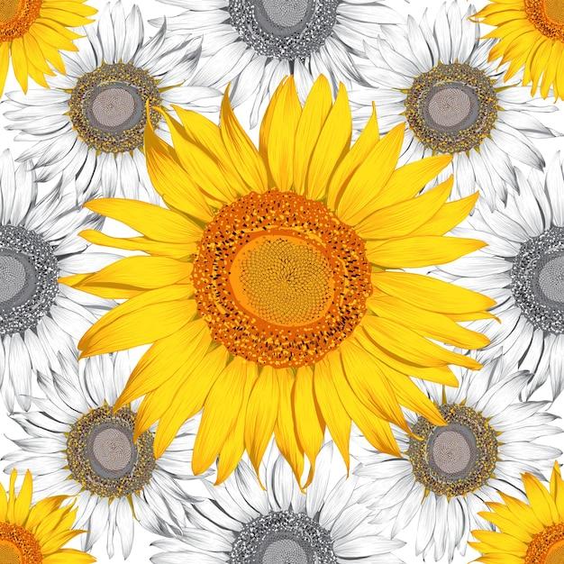 Modello senza cuciture fondo astratto dei fiori del girasole. disegno. Vettore Premium
