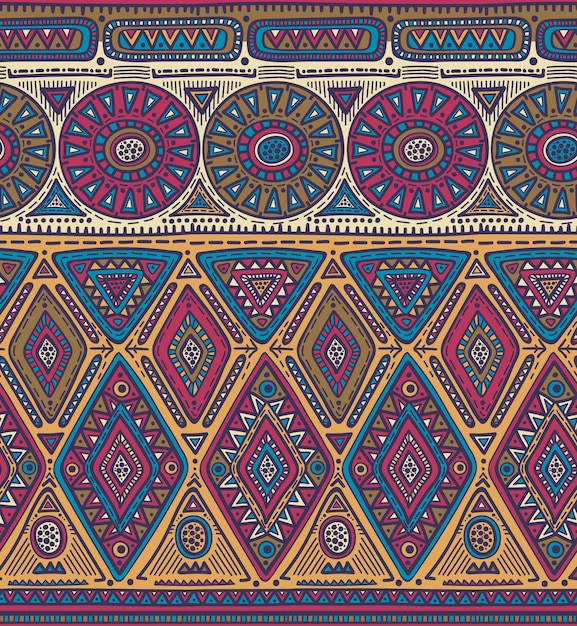 Modello senza soluzione di continuità per il design tribale. motivo etnico Vettore Premium