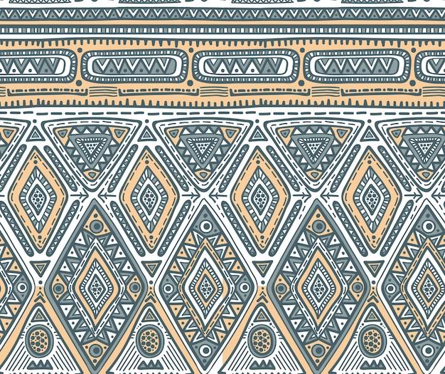 Modello senza soluzione di continuità per il design tribale. motivo etnico geometrico con rombo Vettore Premium