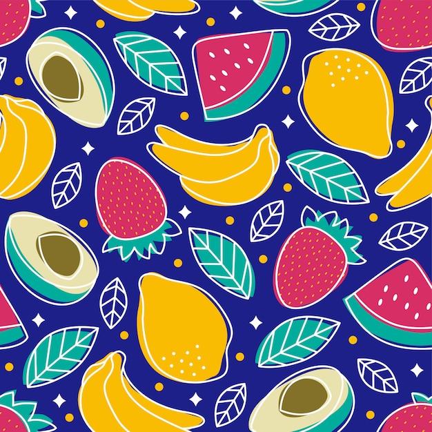 Limone senza cuciture della banana dell'anguria della fragola dell'avocado di frutti tropicali del modello Vettore Premium