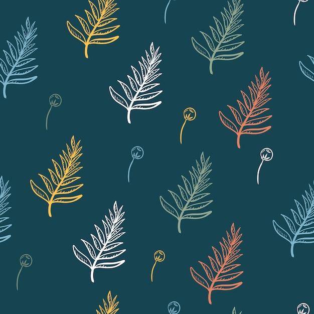 Il modello senza cuciture della pianta tropicale e dei pini va floreale nel fondo verde scuro. Vettore Premium