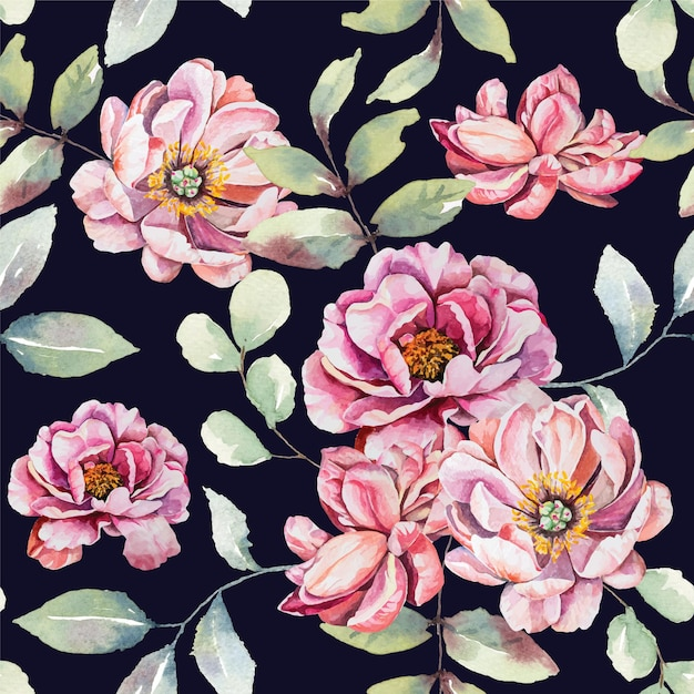 Modello senza giunture di acquerelli di fiori rosa Vettore Premium