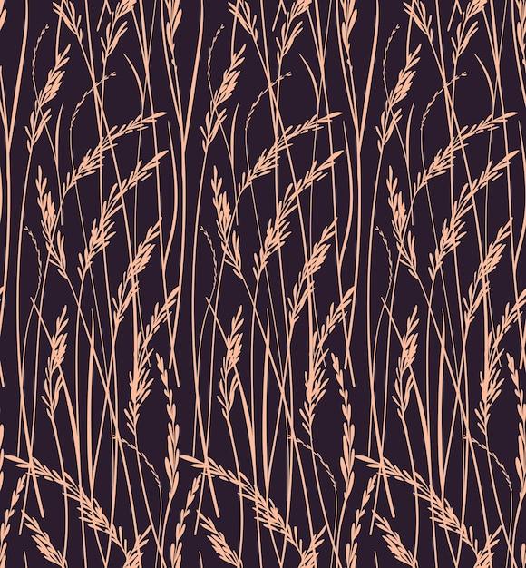 Modello senza cuciture per. stampa di erbe selvatiche. sfondo marrone. motivo floreale. Vettore Premium