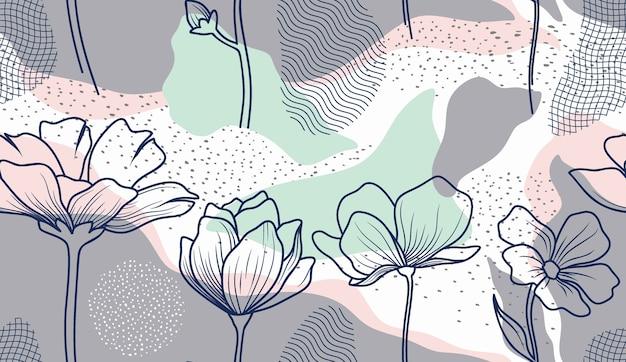 Modello senza cuciture con foglie e fiori astratti. Vettore Premium