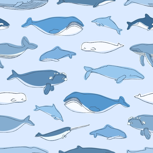 Modello senza cuciture con gli animali acquatici o i mammiferi marini disegnati a mano su fondo blu - balene, narvalo, delfini, cachalot, beluga. illustrazione per la stampa tessile, carta da imballaggio, carta da parati. Vettore Premium