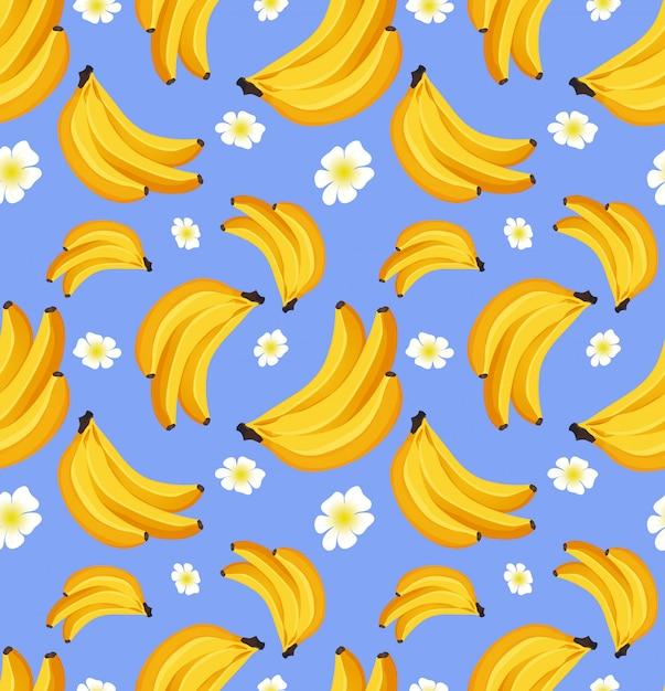 Modello senza saldatura con banana frutta tropicale. concetto di design di ornamenti per tessuto, carta. Vettore Premium