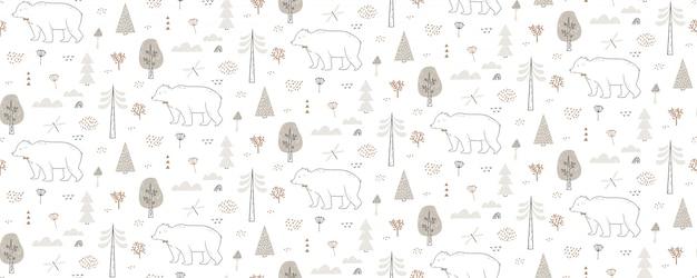 Modello senza cuciture con orso, libellula, nuvole, alberi. il modello foresta disegnato a mano si ripete all'infinito. Vettore Premium