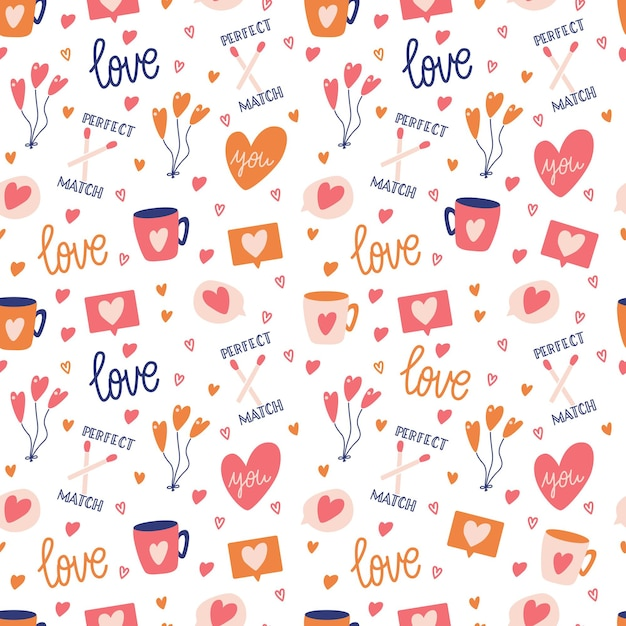 Modello senza cuciture con grande collezione di oggetti d'amore e simboli per happy valentines day. illustrazione piatta colorata. Vettore Premium