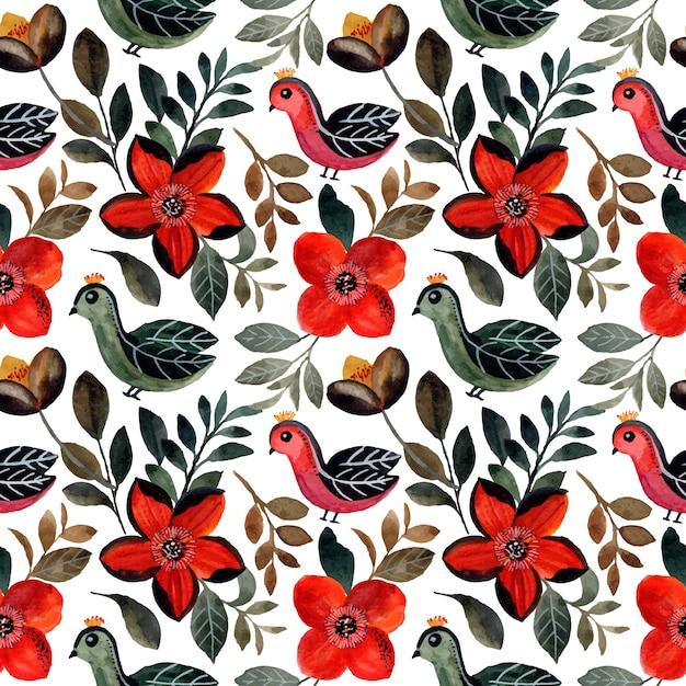 Modello senza cuciture con uccello e acquerello floreale Vettore Premium