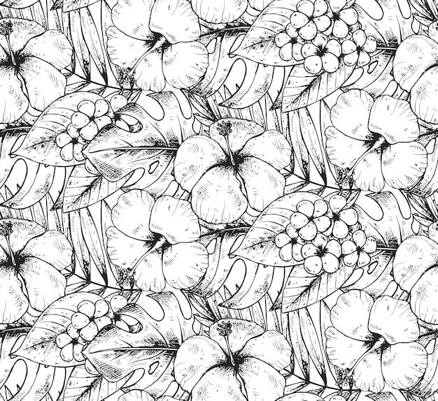 Modello senza cuciture con piante e fiori tropicali disegnati a mano in bianco e nero con struttura dell'acquerello. sfondo hawaiano estivo. Vettore Premium