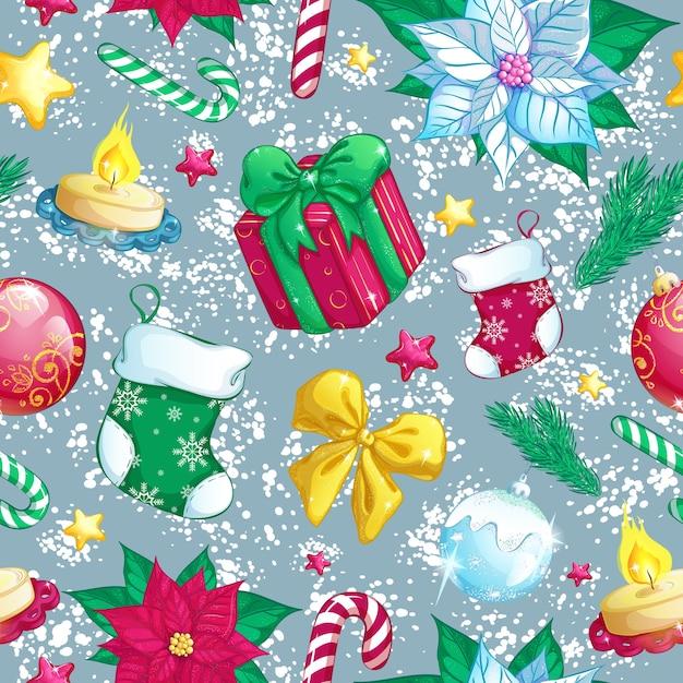 Modello senza saldatura con decorazioni natalizie. priorità bassa di inverno del nuovo anno. Vettore Premium