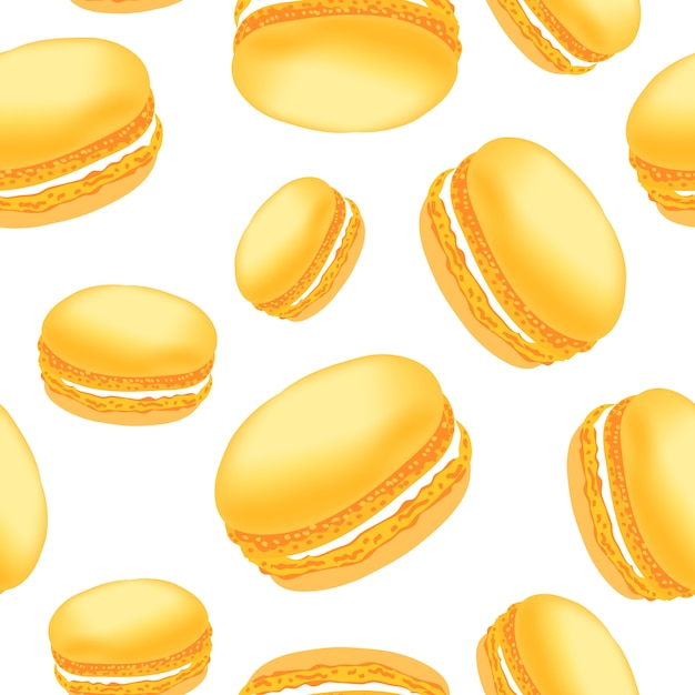 Modello senza cuciture con i biscotti di amaretto colorati su sfondo bianco. Vettore Premium
