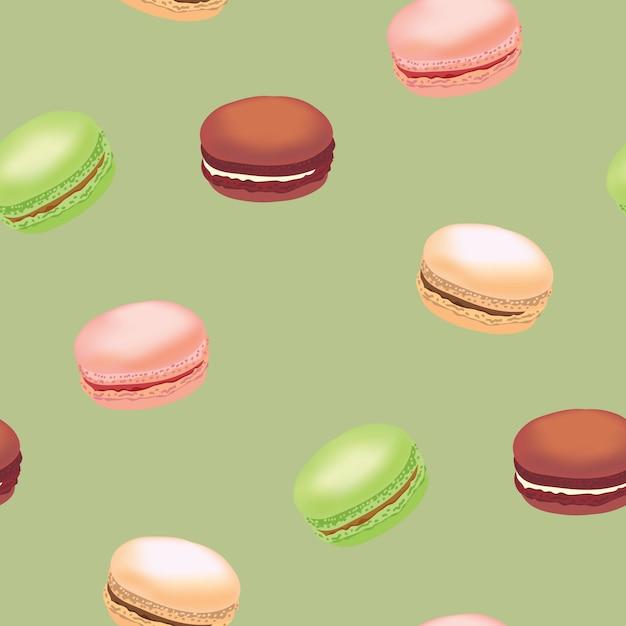 Modello senza cuciture con i biscotti di amaretto colorati. Vettore Premium