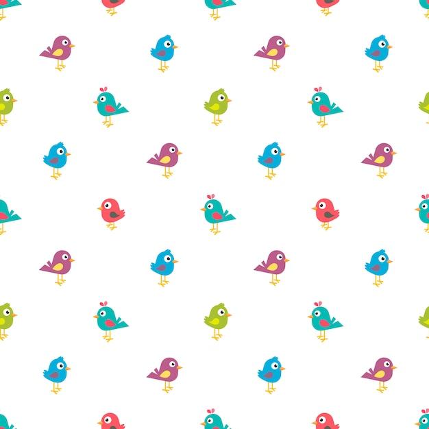 Modello senza cuciture con piccoli uccelli colorati Vettore Premium