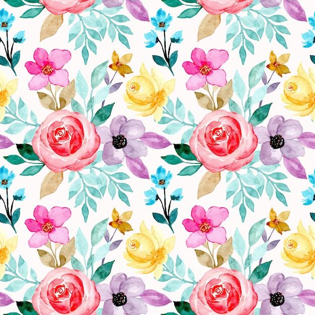 Modello senza saldatura con fiori colorati ad acquerello Vettore Premium