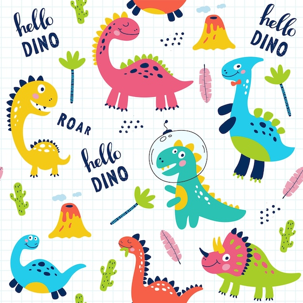 Modello senza cuciture con simpatici dinosauri per bambini stampa. Vettore Premium