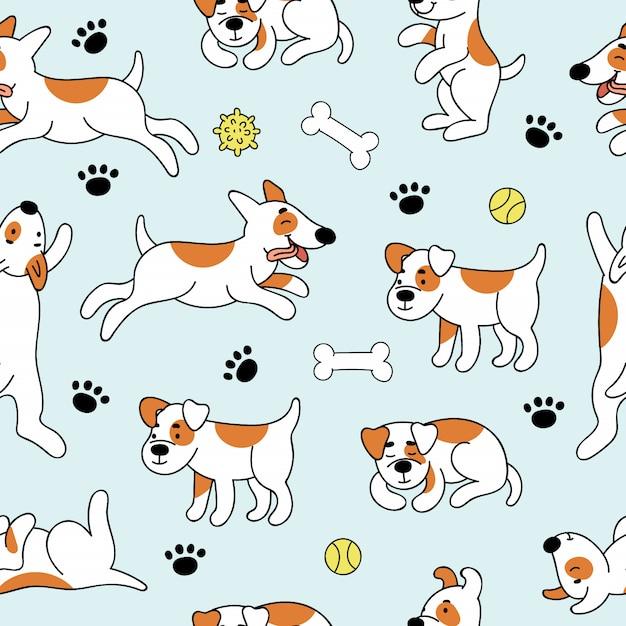 Modello senza cuciture con simpatici cani in diverse pose Vettore Premium
