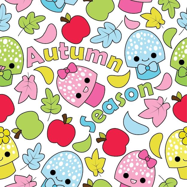 Seamless pattern con funghi carino, mele e mapple foglie su sfondo bianco cartoon vettoriale adatto per kid autunno stagione progettazione carta da parati, carta da rotta e tessuto kid indumenti sfondo Vettore Premium