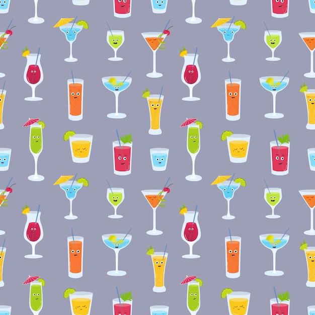Modello senza cuciture con bevande in bicchieri con simpatici volti divertenti. Vettore Premium