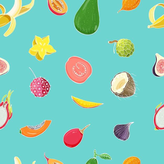 Modello senza saldatura con frutti tropicali esotici. sfondo colorato Vettore Premium