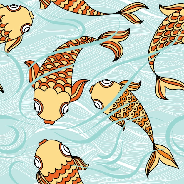 Modello senza cuciture con pesci galleggianti nel mare Vettore Premium