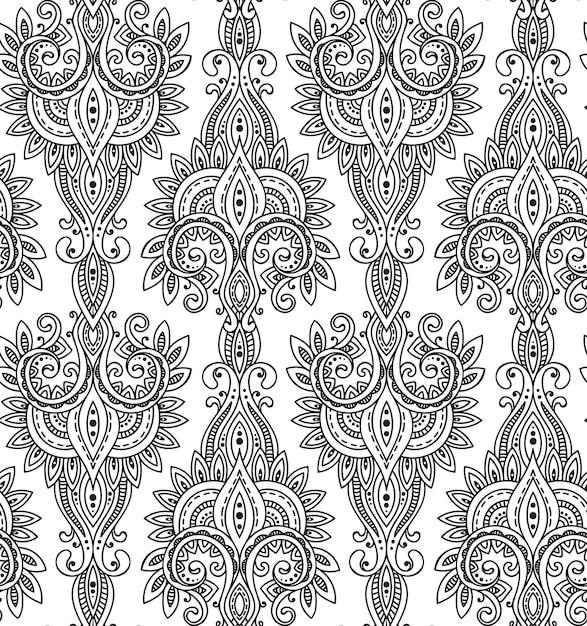 Seamless con ornamento paisley asiatico disegnato a mano. amuleto con etnico. bellissimo sfondo infinito in bianco e nero. Vettore Premium