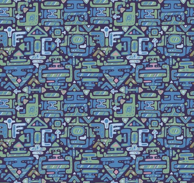Seamless con ornamento di colore disegnato a mano maya su sfondo nero. sfondo infinito blu. Vettore Premium