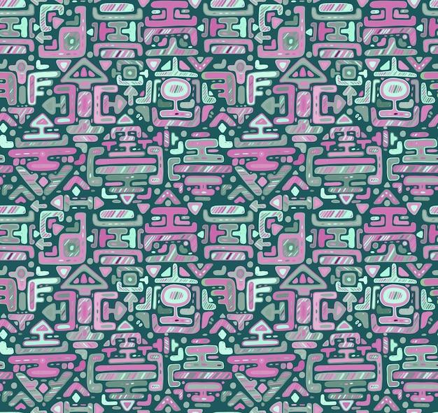Seamless con ornamento di colore disegnato a mano maya su sfondo nero. stampa tessile. Vettore Premium
