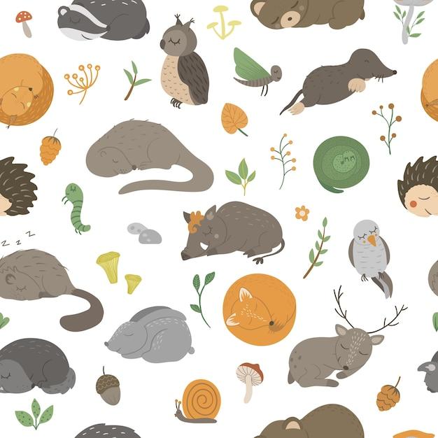 Seamless con animali da letto divertenti piatti disegnati a mano. Vettore Premium