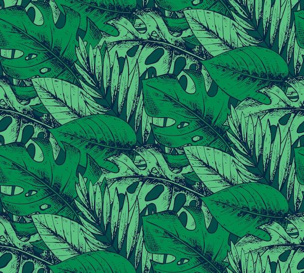 Modello senza cuciture con piante tropicali disegnate a mano nei colori verdi. sfondo hawaiano estivo. Vettore Premium